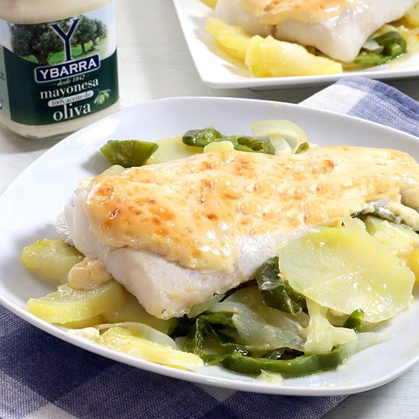 receta de merluza-gratinada-patatas-panadera con mayonesa-100-oliva-ybarra