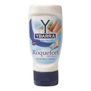 Bote de salsa Roquefort Ybarra 300ml boca-abajo