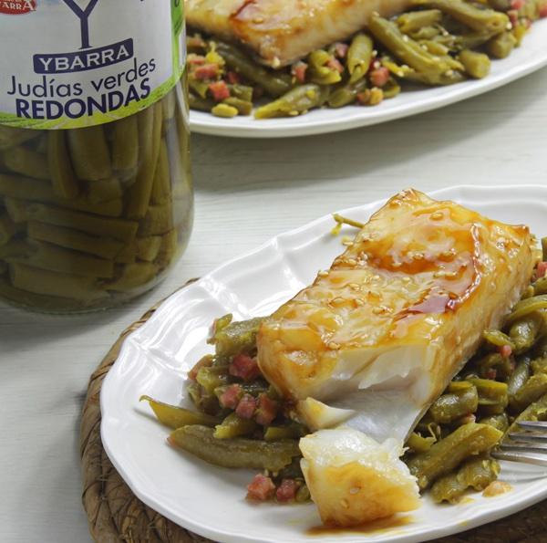 receta de bacalao-teriyaki-judias-verdes hcecha con el Tarro de Judías Verdes Redondas Ybarra