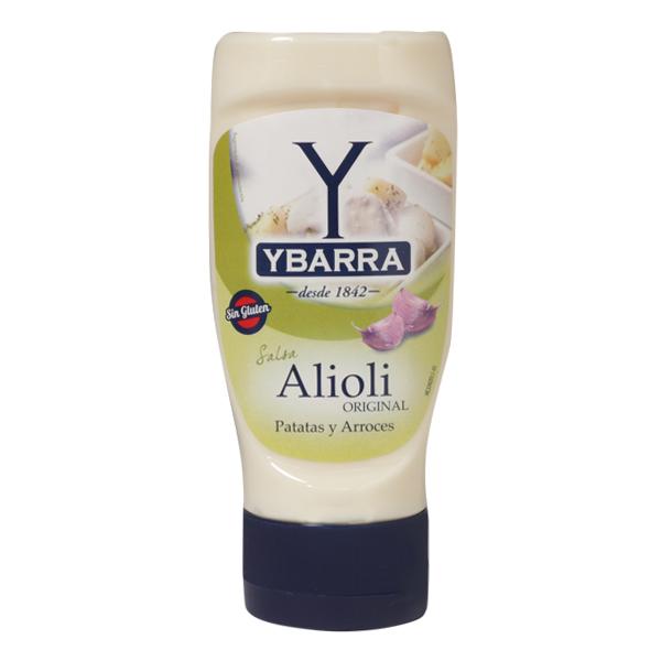 Bote de salsa AliOli Ybarra 300ml boca-abajo