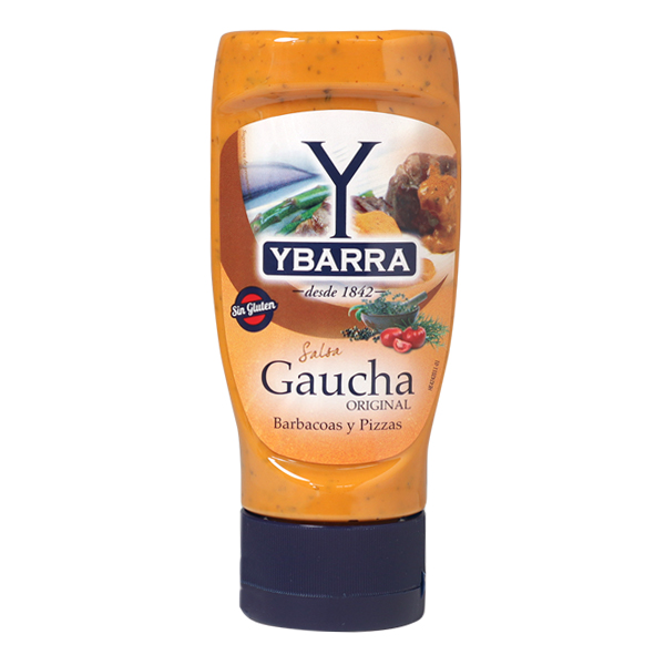 Bote de salsa Gaucha Ybarra 300ml boca-abajo