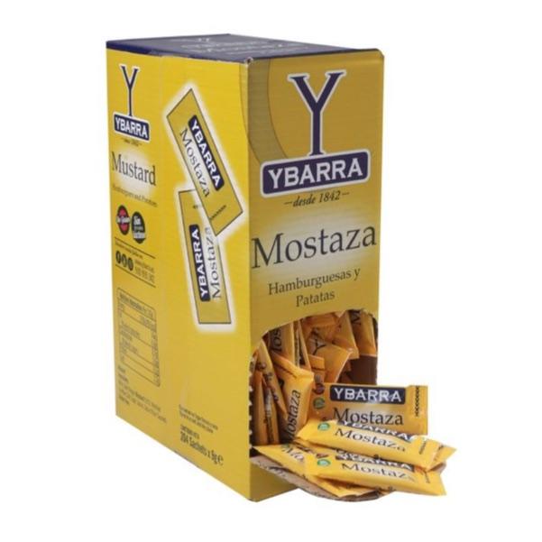 Caja de MOSTAZA en 252 sobres monodosis Ybarra para restaurantes bares