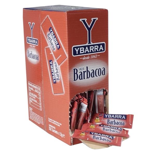 Caja de SALSA BARBACOA en sobres monodosis Ybarra para restaurantes bares