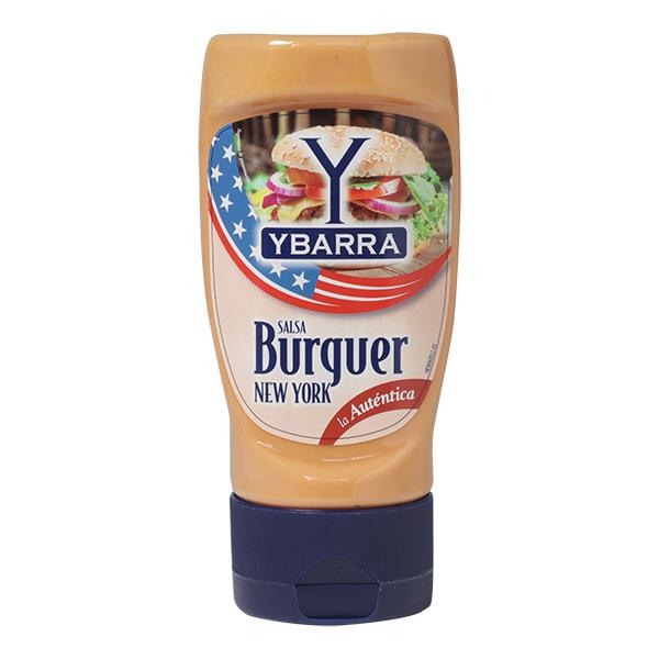 Bote de salsa New York Burguer Ybarra 250ml boca-abajo